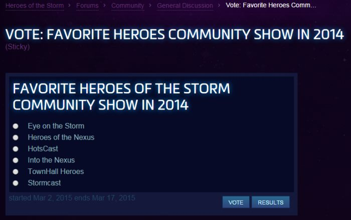 HotSCast Favorite Heroes Community Show in 2014 Award Powered by Twitch